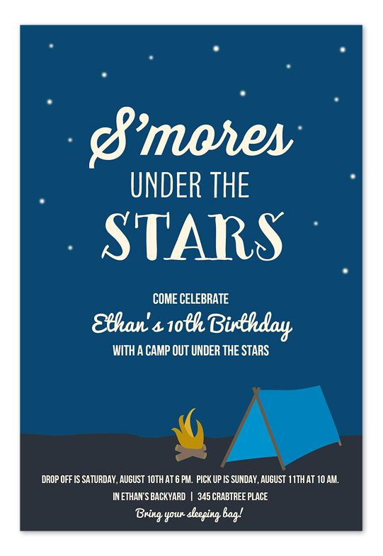 Smores Under the Stars invitation - perfect for a summer bonfire party ...