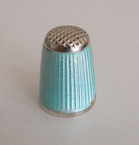 Aksel Holmsen Norway Vintage Aqua Enamel 925 Sterling Silver Thimble | eBay