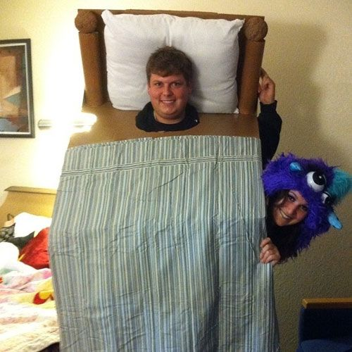 funny couple costume monster under the bed
