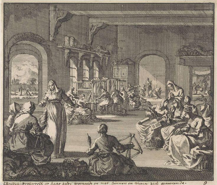 Jan Luyken | Vroeg-christelijke gemeenschap van vrouwen werkend in hun klooster, Jan Luyken, 1700 | Een vroeg-christelijke gemeenschap van vrouwen in een klooster. Ze zijn aan het spinnen en aan het weven.