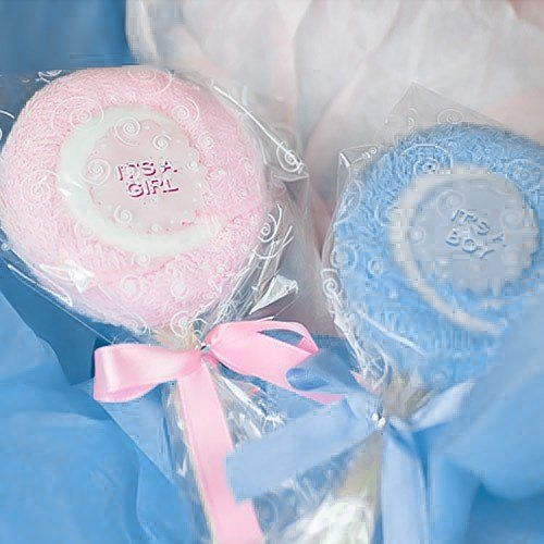 What's cute, cuddly and snuggly soft—and perfect for a baby shower? Baby shower lollipop towel favors, of course! Each looks like a lickable lolli, but it's really a terrycloth towel!