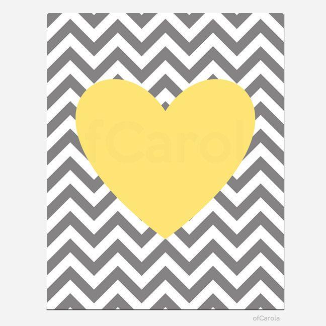 Yellow Gray White Chevron Nursery Heart Wall Art Print by ofCarola, $15.00