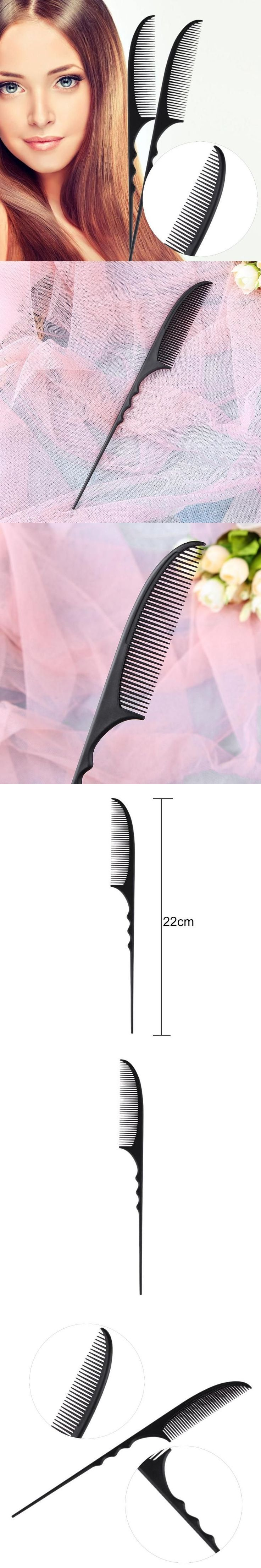 1Pc Insert Hair Pick Comb Afro Hair Pick Comb Fork Hairbrush Plastic High Low Gear Comb for Curly Afro Hair Styling Tools