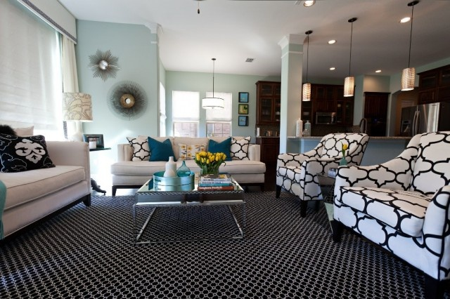 Living room design - love the neutrality of black & white with the blue & green accents