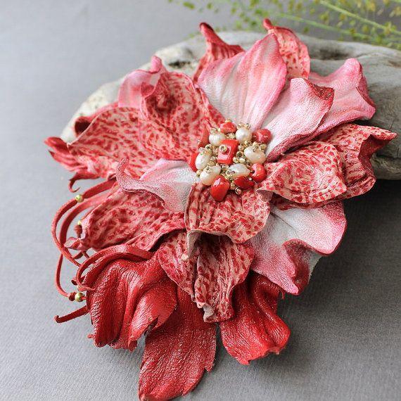 Leather Flower Brooch Leather Jewelry by JewelryBeadsByKatie