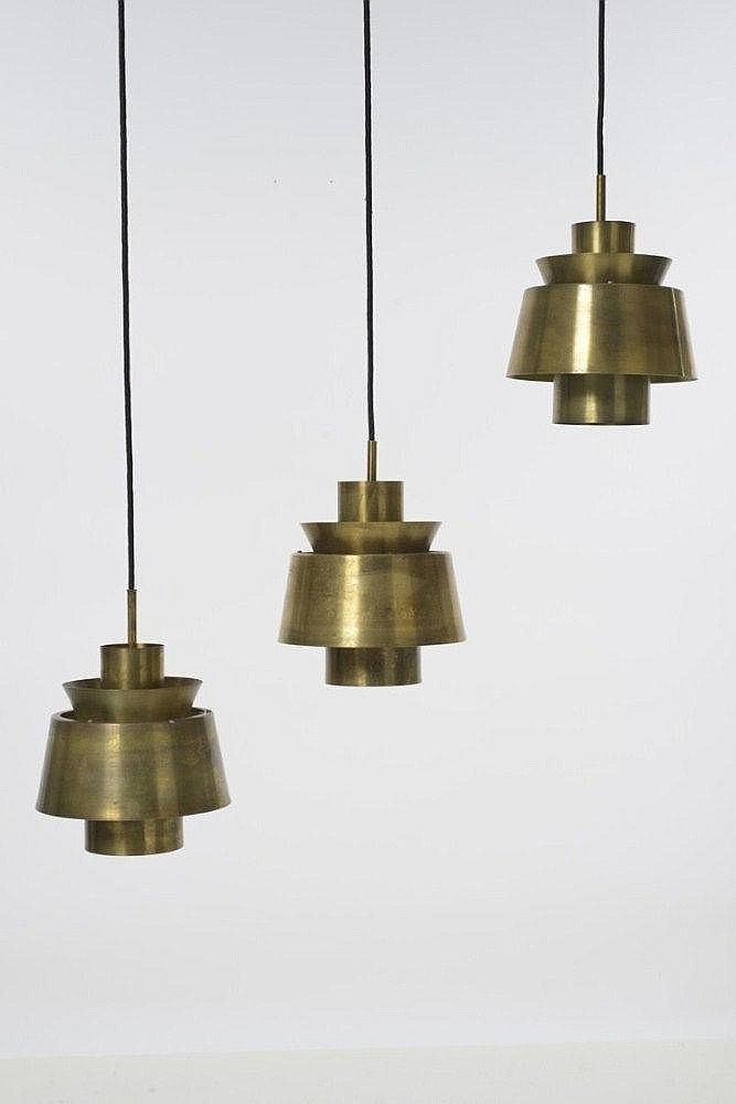 Jørn Utzon; Brass Ceiling Lights, c1960.