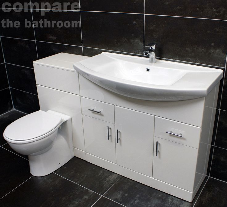 The set is made up of 850mm vanity unit & ceramic basin, 500mm WC unit, concealed cistern, back to wall toilet pan & seat. Mediterranean 1350mm White Gloss Bathroom Vanity Set. Add to favorites. 850mm width vanity unit with ceramic basin. | eBay!