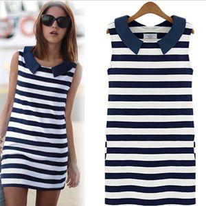 Korean New 2014 Denim Sailor Collar Sleeveless Slim Casual Stripe Jeans Dress Ladies Blouse Tops S M L LSP8150 Free Shipping