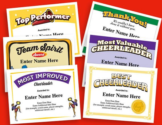 Cheerleading Certificates, Cheerleader Awards, Cheer ...