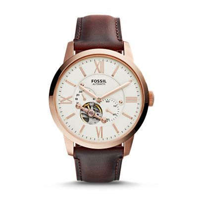Townsman Automatic Dark Brown Leather Watch - Fossil