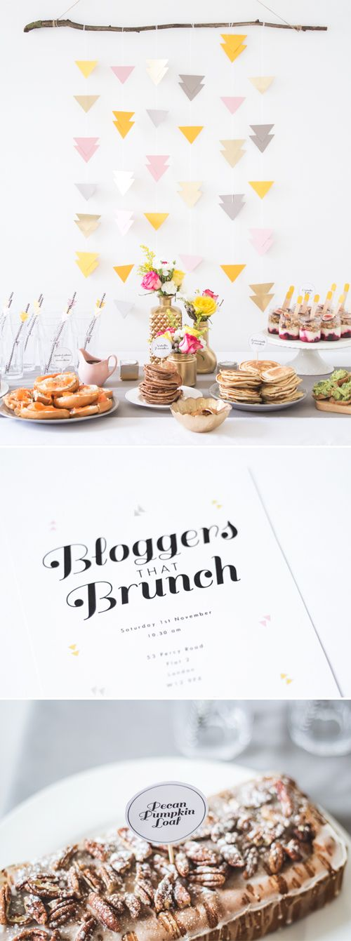 Bloggers' brunch with hanging triangle garland