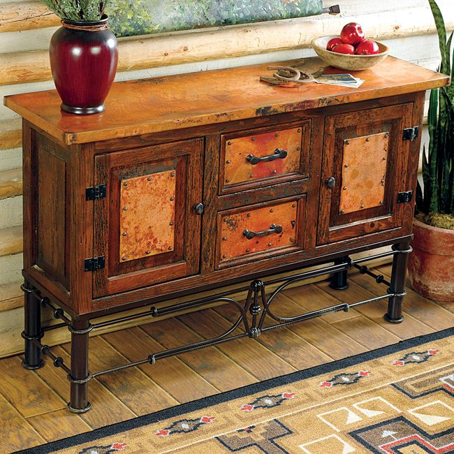 Western Furniture: Pablo Copper Console Table|Lone Star Western Decor