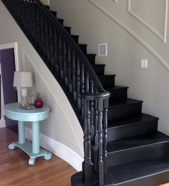 20 Attractive Painted Stairs Ideas. Black Painted Stairs