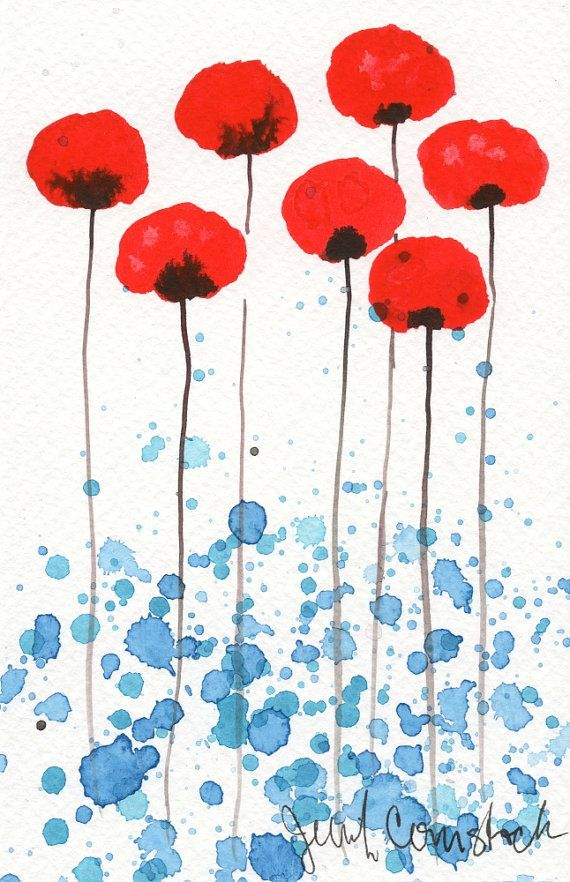 Buy 2 Get 1 FREE -- Watercolor Painting: Watercolor Flowers -- Art Print --  Bright and Sunny Day -- Red Flowers -- 5x7