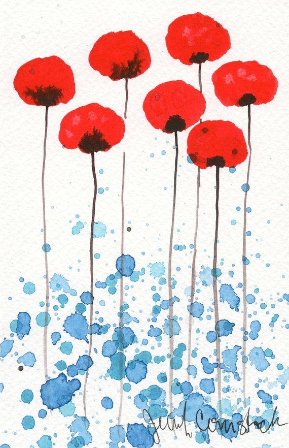 Acuarela: Acuarela flores pinturaimpresión del por PopwheelArt