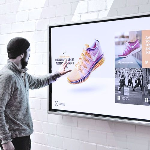 This interactive touchscreen application allows users to experience the Nike brand and its sports-enthusiastic community at the point of sale.