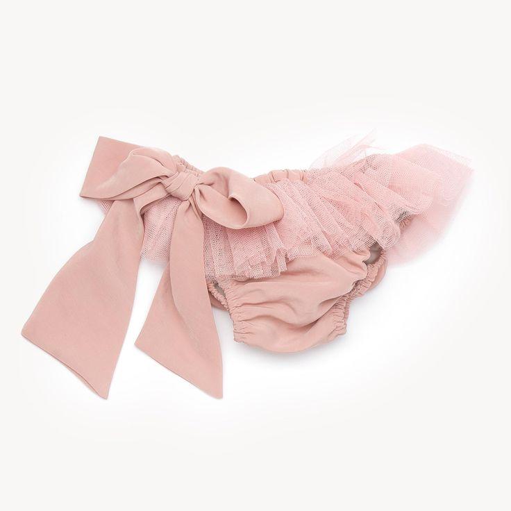 Casilda y Jimena | Bikini bottom - Dusty rose/silk tulle bow