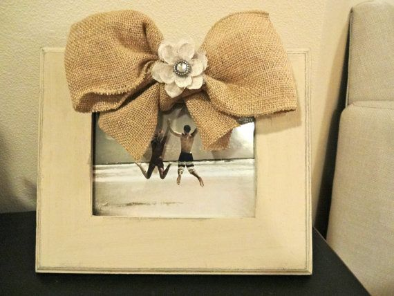 cream distressed picture frame with burlap bow - Distressed Picture Frames