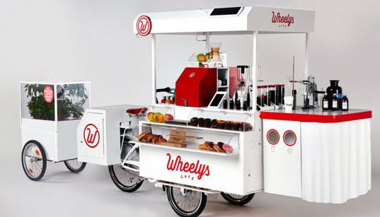 wheelys, food cart, bike cafe, mobile cafe, mobile coffee shop, solar power, e-assist bike, nordic society for invention and discovery, sustainable food