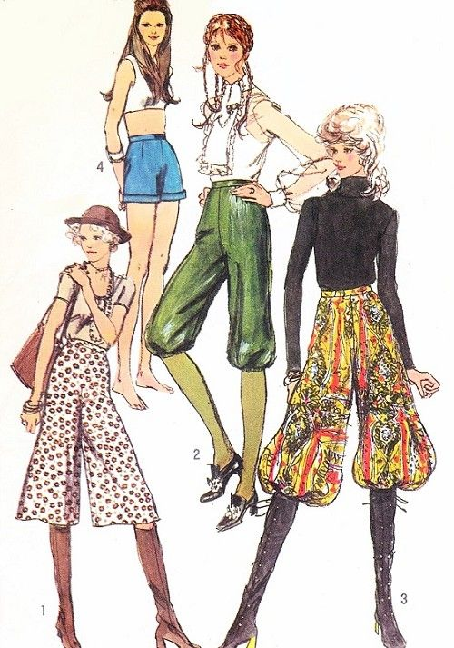 70s Gauchos Culottes High Waist Knickers Harem Pants Shorts Pattern SIMPLICITY 9397 Size 6 Vintage Sewing Pattern UNCUT