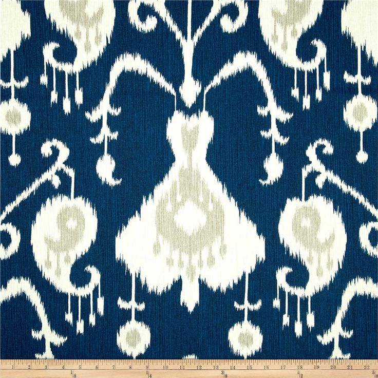 Magnolia Home Fashions Java Ikat Navy from @fabricdotcom  Screen printed on cotton duck; this versatile, medium weight fabric is perfect for window accents (draperies, valances, curtains and swags), accent pillows, bed skirts, duvet covers, upholstery and other home decor accents. Create handbags, tote bags, aprons and more. Colors include ivory, grey and navy.