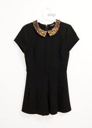 Kup mój przedmiot na #vintedpl http://www.vinted.pl/damska-odziez/kombinezony-krotkie/20772788-czarny-kombinezon-z-kolnierzykiem-w-panterke-mini-plisowany