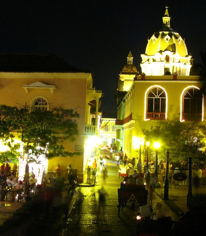 Cartagena - Colombia. In the background is the dome of Cartagena de Indias' Cathedral