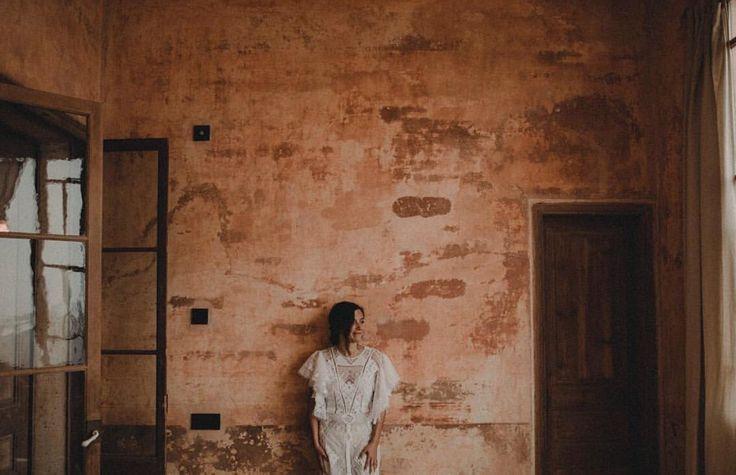 Pati is wearing custom made 'I can feel you halo' dress in cotton tuscany lace #nevenka #madeinmelbourne #australiandesigner # wedding #bride #whitelace #lace #dress
