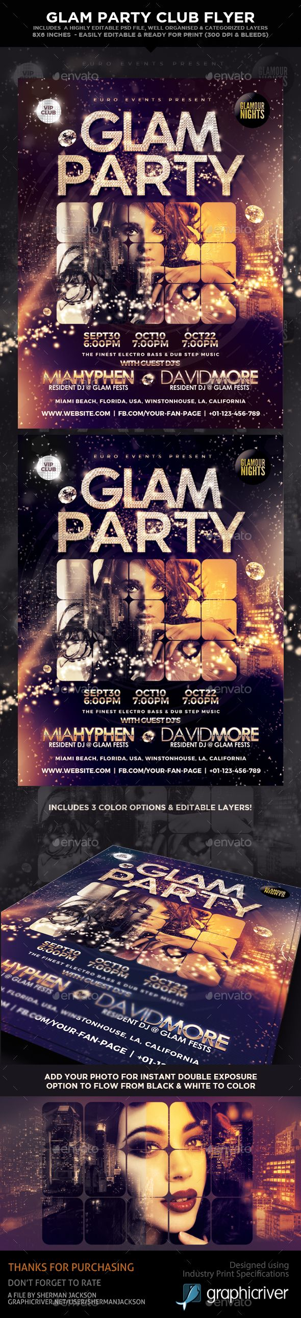 Glam Party Club Flyer  — PSD Template #rich #Fashion flyers • Download ➝ https://graphicriver.net/item/glam-party-club-flyer/18031788?ref=pxcr