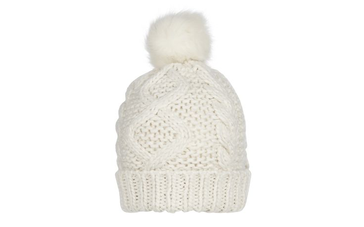 Faux Fur Pom Pom Cream Bobble Hat