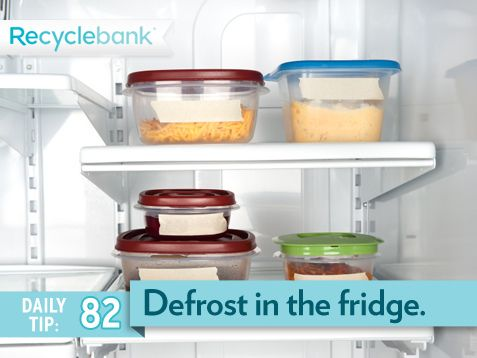 Don't use running water to thaw food. Defrost food in the refrigerator for water efficiency and food safety. #SummerSecretsContest