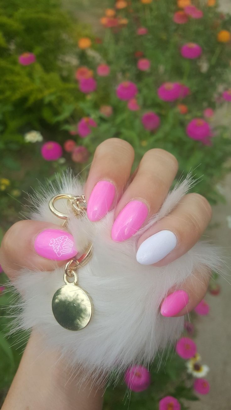 Pink white summer nails
