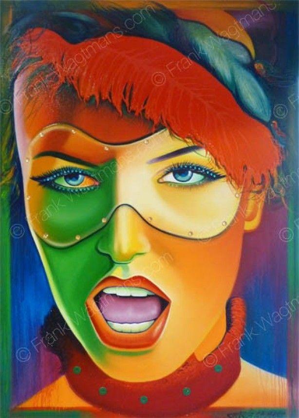 Trendy woonkamer inspiratie: prachtig expressief portret. Uitbundige, sprekende, gewaagde kleuren en een party oogmasker zorgen voor een feestelijke carnavalssfeer. Een echte eyecatcher!!!