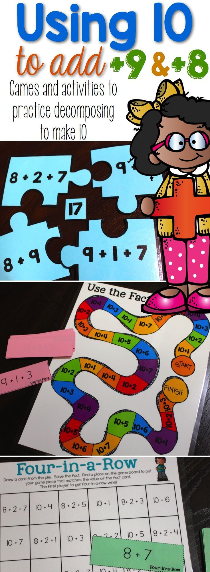 Using 10 to Add is full of games and activities to engage your students in using ten to add +9 and +8 facts. Activities Include: Equal Equations (three different ways to play), Use the Facts Board Game, Four-in-a-Row, Number Puzzles, and Addition Chart Fill-in. #firstgrademath