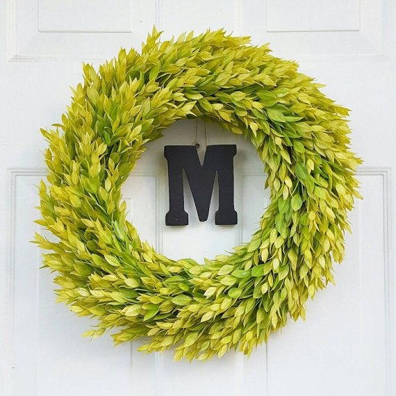 Illuminating Green Flame Leaf Wreath Monogrammed by BeWreathedNYC