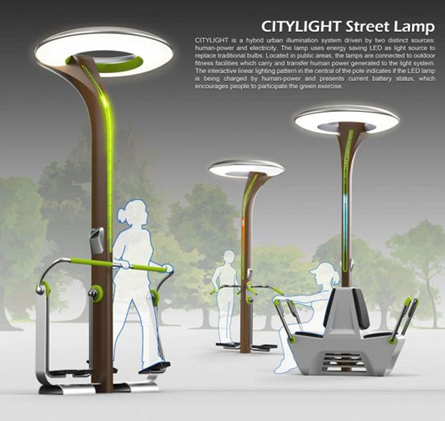 citylight, outdoor exercise equipment used to generate electricity for lampposts
