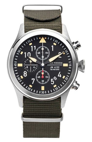 Jack Mason Brand \u0027Aviation\u0027 Chronograph NATO Strap Watch 42mm available at # Nordstrom