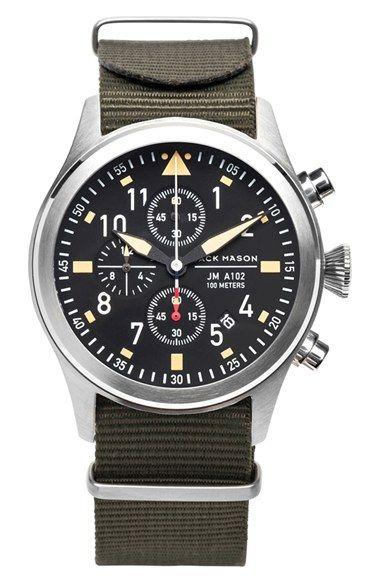 Jack Mason Brand \u0027Aviation\u0027 Chronograph NATO Strap Watch 42mm available at # Nordstrom