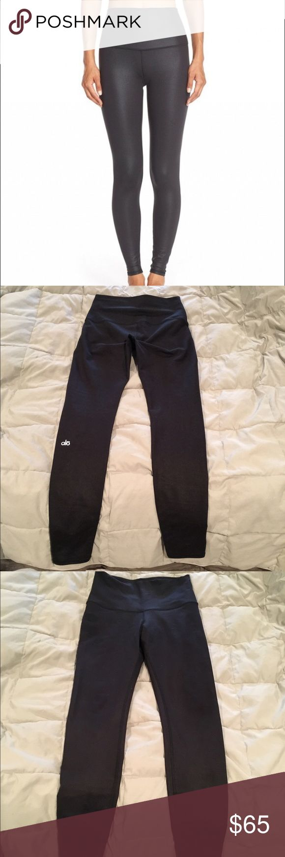 Alo Yoga high waisted sheer black leggings These are the sheer black high waisted workout leggings you want. They fit perfectly for a 6 in lululemon. The sheerness is not too much it's not too noticeable. Size M. Great condition. Well cared for. Goes perfect with my backless Alo Yoga tank. Bundle to save! ALO Yoga Pants