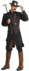 Steampunk Gentleman Costume is lots of fun for that vintage event! Includes jacket and pants. Does not include hat, facial hair, cane, or shoes. Steampunk is the Victorian Industrial Revolution with a Sci-Fi twist. List Price: $49.99 -  Price:$38.36