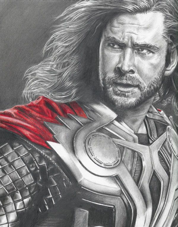 Chris Hemsworth as Thor pencil portrait by John DiBiase