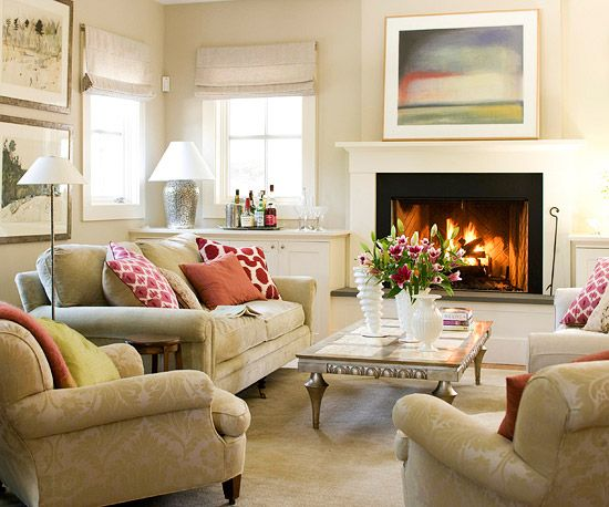 Pull everything in closer to the fireplace. Add a bar at the head of the stairs. Turn window into french doors leading to balcony.