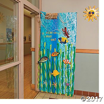 Your class will make a splash with this Under the Sea Door Décor! Twist some streamers, add some cutouts and a few 3D creatures and watch your classroom ...