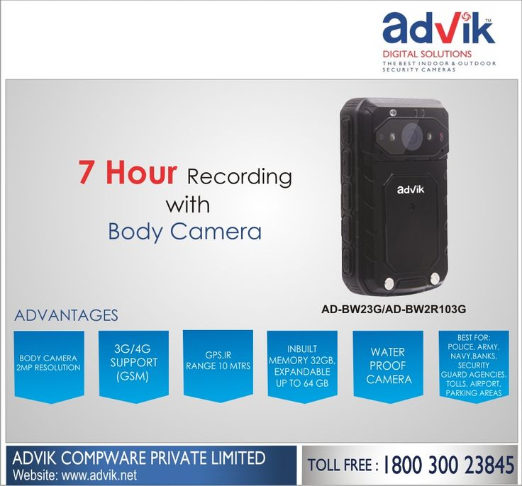 7 Hour Recording with Body Camera !!! With upto 7 hours of continuous operational time, Advik's #bodycamera has been a hit amaong police and security persons. Its ability to record videos without needing a recharge or change of battery has been a great contributor to its popularity since its launch at IFSEC last year. It's high resolution 2 MP camera enables it to #capture high definition images and videos. This small #camera is best suited for police, army, navy, bank security guard…