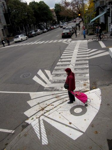 Fishbone crosswalk, Montreal, Canada by Peter 'Roadsworth' Gibson. Click image for more of his hacks and visit the slowottawa.ca boards >> http://www.pinterest.com/slowottawa