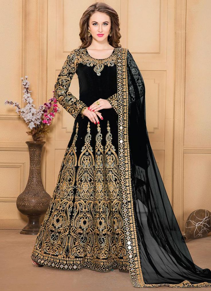 Get here the latest and exclusive collection of salwar kameez. Buy online awesome black embroidered and resham work designer floor length suit and get the best deals.