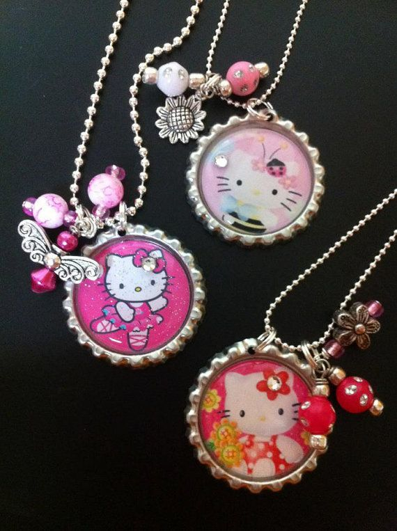 Hello Kitty bottle cap necklaces
