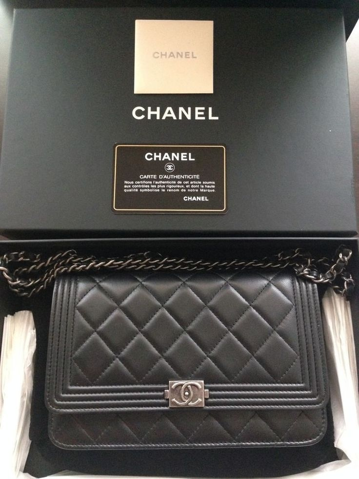 chanel wallet on chain woc quilted black lambskin le boy nwt