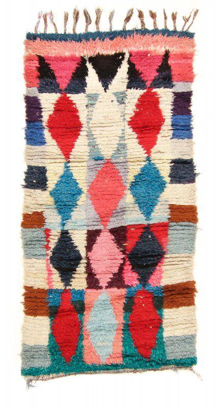 Marokkaanse Berber tapijt Boucherouite 220 x 100 cm