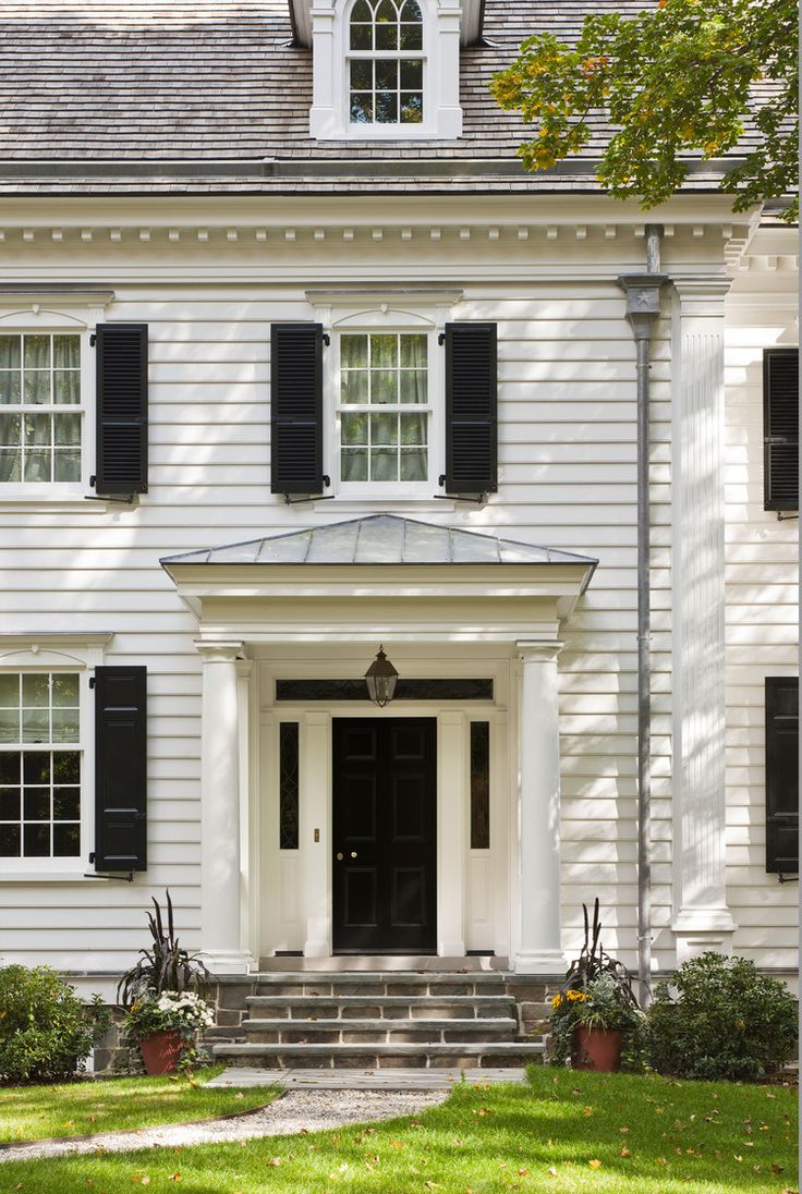 47 best colonial facade portico images on pinterest for Traditional home exterior